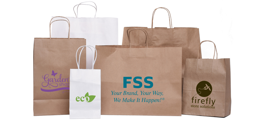 Imprinted paper shopping bags