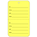 yellow tag with string price tags