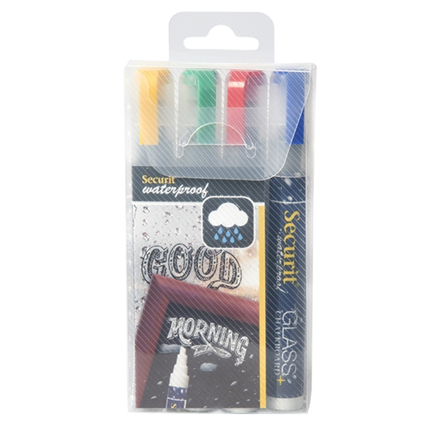 Securit Waterproof Chalkboard Marker Medium Nib Set Of 4