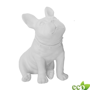 Sitting Bulldog Mannequin - White Finish