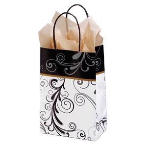 Elegant Flourish Paper Shopping Bag 5-1/2x3-1/4x8-3/8