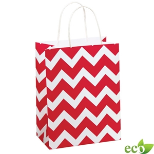 Red Chevron Shopping Bag