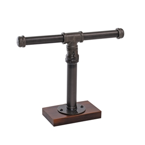 Hanson Industrial Piping Bracelet Display with Dark Wood Base