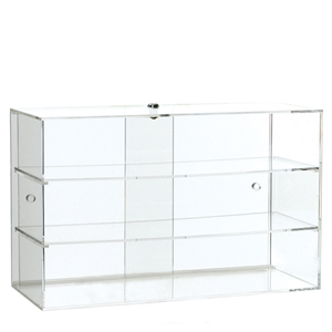 Acrylic display case with 2 shelves