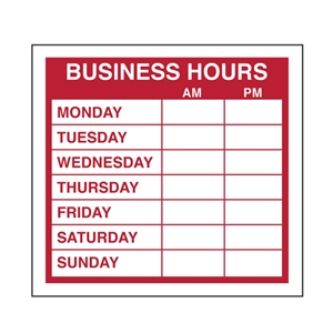 Business Hours Sign Store Signs