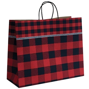 16x6x13 Festive Flannel Paper Shopping Bag