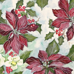painterly poinsettia holiday gift wrap
