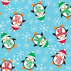 roly poly penguins holiday gift wrap