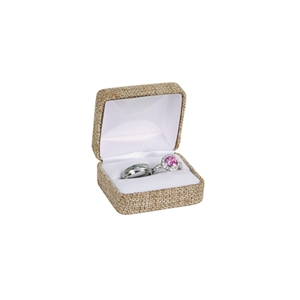 Burlap-Covered Hinged Gift Box - Double Ring Box