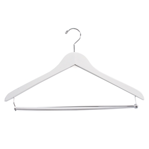White Wooden Suit Hanger with Locking Bar
