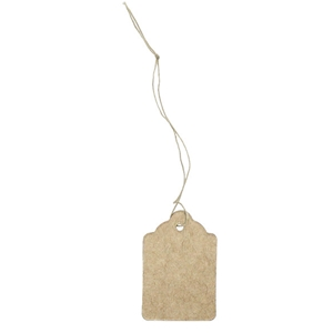 Kraft Merchandise Tag with String and scallop top