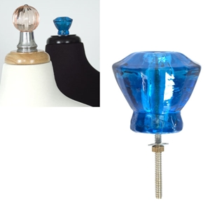 Glass Finial Clear Blue