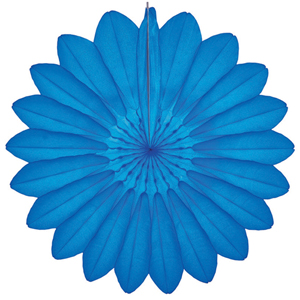 bright blue paper flower hanging paper decorations