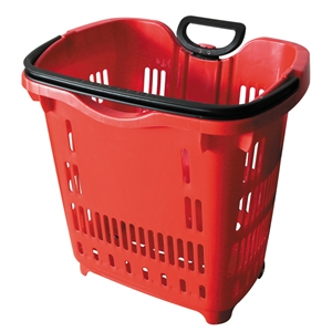 Red Rolling Shopping Basket