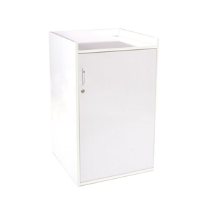 white gloss register stand