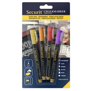 Securit® Liquid Chalkmarker Small Nib Tropical Colors - Set of 4