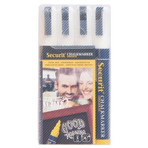 Securit® Liquid Chalkmarker Medium Nib - Set of 4 White