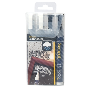 Waterproof Glass and Chalkboard Marker Set (2 White, 2 Black) – Medium Nib