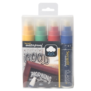 Securit® Waterproof Chalkboard Marker Large Nib - Set of 4