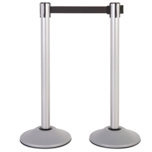 Silver Steel Stanchion Post with 7.5' Black Belt