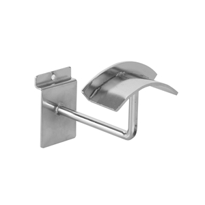 Chrome Slatwall Hook with Curved Arm