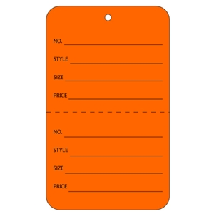 orange tag with string price tags