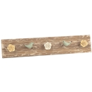Wooden Wall Hook Rack with metal bird and flower knobs