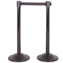 Black Steel Stanchion Post with 7.5' Black Belt