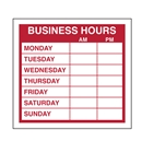 Cling-on Business Hours Sign