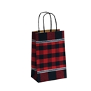 5-1/2x3-1/4x8-3/8 Festive Flannel Paper Shopping Bags