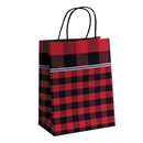 8x4-3/4x10-1/2 Festive Flannel Paper Shopping Bag