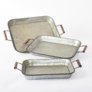 Galvanized metal tray with wood handles - set of 3