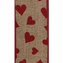 Linen Hearts Wired Ribbon
