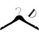 "17"" Black Wooden Hanger with Non-Slip Rubber Strip"