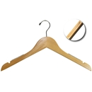 "17"" Natural Wooden Hanger with Non-Slip Rubber Strip"