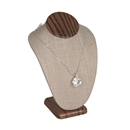 "Grey Linen Necklace Bust with wood grain finish base 6-1/4"" Tall"