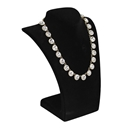 "Black Velvet Curved Bust Necklace Display 11"" H"