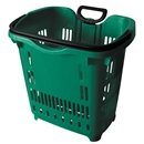 Green Rolling Shopping Basket