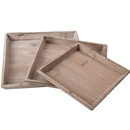 Square Wood Trays, Set of 3