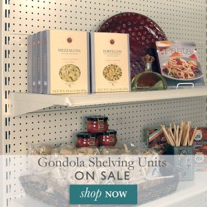 Gonddola shelving units on sale.