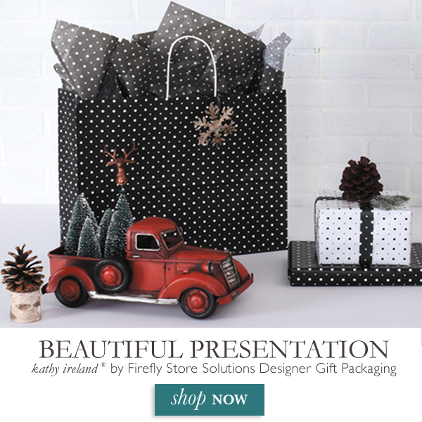 Create a beautiful presentation with our kathy ireland® by Firefly Store Solutions designer gift packaging collection.