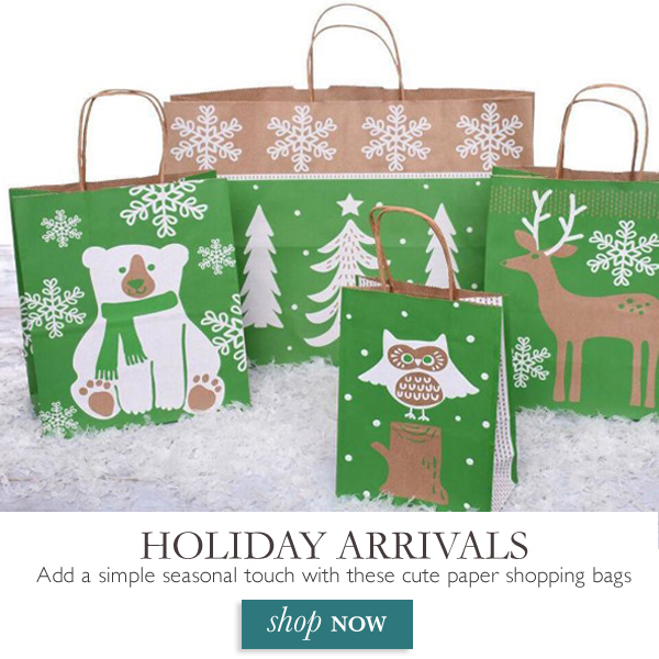Holiday arrivals are here! Add a simple seasonal touch with these irresistible paper shopping bags.