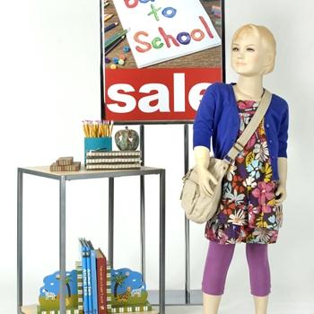 Window displays for back-to-school sales