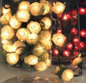 String lights cast a warm glow on displays